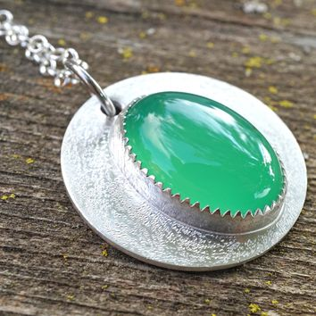 Green Agate Sterling Silver Artisian Necklace