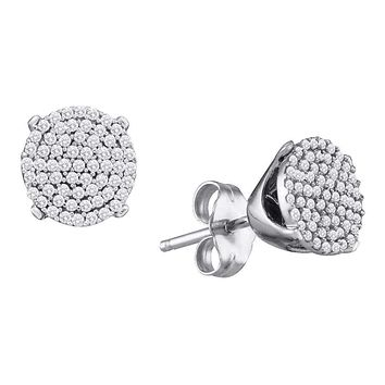 10kt White Gold Women's Round Diamond Circle Cluster Stud Earrings 1-4 Cttw - FREE Shipping (US/CAN)
