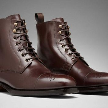Wakeby Wolf Finesse Brown Lace Up Ankle Brogue Leather Boots