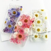 Dried Real Flower Case For iPhone 5S Case Handmade Clear Pressed Soft Back Cover For iPhone 7 Case For iPhone X 8 Plus 6 7 Plus