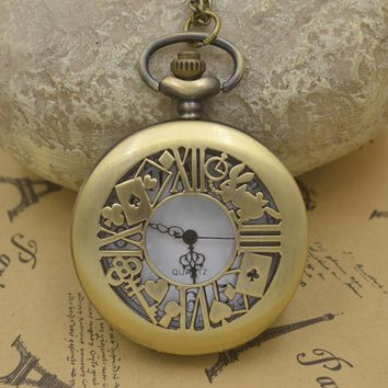 fashion alice in wonderland quartz pocket watch necklace woman girl rabbit cat vintage man fob watches retro new bronze cute