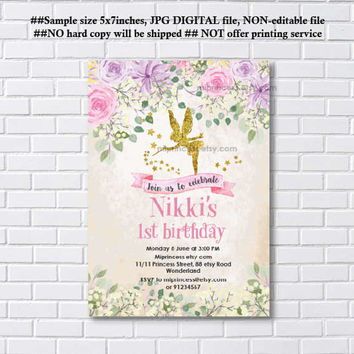 Fairy invites, Birthday Invitation, gold fairy girl birthday party for any age 1st 2nd 3rd 4th 5th 6th 7th 8th 9th 10th- card 1095