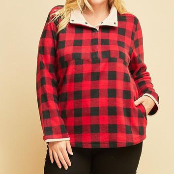 Red Flannel Checkered Pullover | Plus