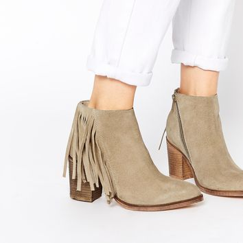 ASOS RILEY Suede Fringe Ankle Boots