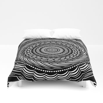 Black Swirl Spiral Mandala Detailed Eclectic Ethnic Spiritual Design (Black and White) Art Print by AEJ Design