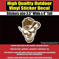 Skull Wearing A Cowboy Hat Vinyl Car Window Laptop Bumper Sticker Decal