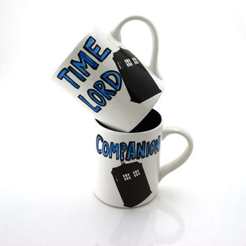 Doctor Who mug, time lord and companion, set of two TARDIS mugs, mr and mrs mugs, can be personalized