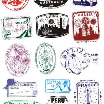 Car Styling Vintage postmarked reminisced travel bag Luggage Guitar laptop stickers waterproof sunscreen PVC Car sticker tz0118