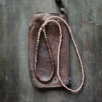 Mixed Media Boho Necklace Brown Pale Pink Gold Metal