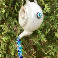 Recycled Tea Pot Wind Chime, Upcycled Mobile, Hanging Garden Art, Sun Catcher, Recycled Jewelry Craft, Altered Tea Pot, Kitchen Window Decor