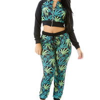 Green and Black Leaf Print Top with Pants