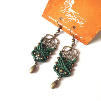 Hippie-chic handwoven leaf elven earrings pendants boho bohemian macrame gypsy woodland elf elvin