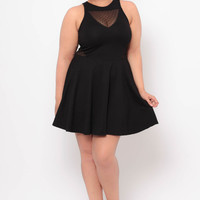 Plus Size Fit And Flare Dress - Black