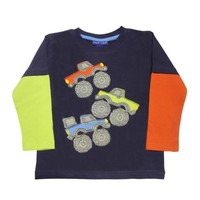Monster Truck Rally Applique Long-Sleeve T-Shirt in Navy