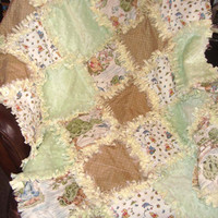 Winnie the Pooh Rag Quilt - Minky Chenille - Neutral - Boy or Girl - Windy Day Classic