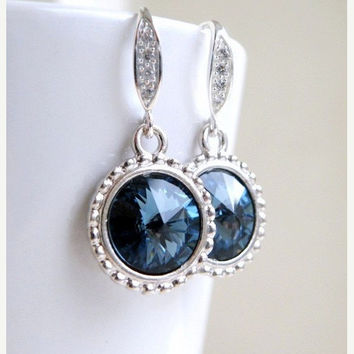 31% Off Denim Blue Sapphire Earrings Swarovski Navy Blue Rivoli CZ Sterling