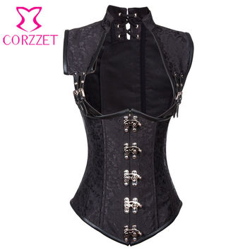 Black Brocade Collared Top Sexy Cupless Waist Trainer Vest Corset Gothic Waist Training Corsets Steel Boned Steampunk Clothing