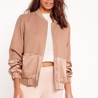 Missguided - Satin Two Tone Bomber Jacket Camel