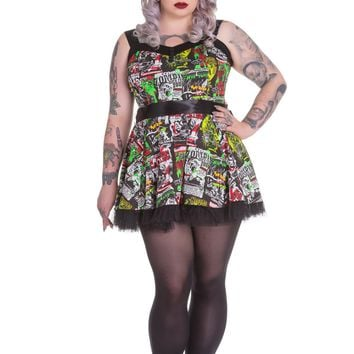 B Movie Classic Horror Film Collage Print Mini Tulle Dress-plus size