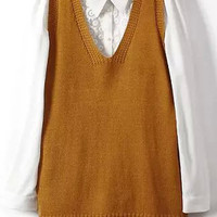 Camel V Neck Pointed Flat Collar Long Sleeve Vest