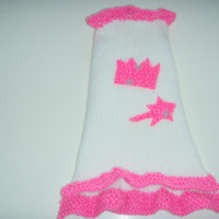 Chihuahua Dress, Dog Dress, Cat Dress,  Fairy Princess Crown and wand in Hot Pink and white  design.