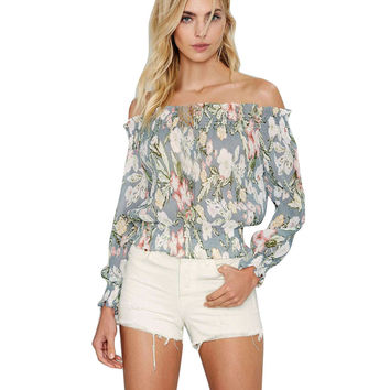 Women Sexy Crop Blouse Casual Off Shoulder Long Sleeve Floral Print Blouses Tops Shirts Female blusa feminina #02 INY66