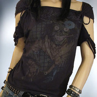 Shredded / Slashed / Weaved / Motley Crue Upcycled Band TShirt