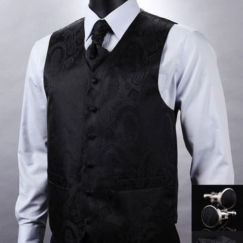 Black Paisley Top Design Men 100%Silk Waistcoat  Wedding Vest Pocket Square Cufflinks Cravat Set for Suit
