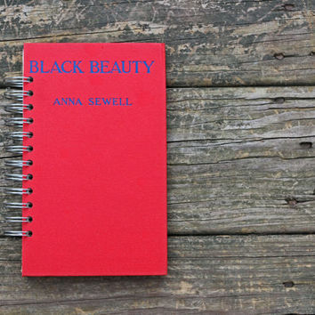 journal notebook - Black Beauty - book journal recycled book gift under 25