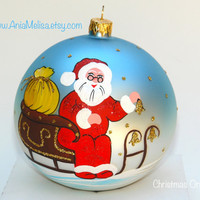 "Christmas ornament Hand Painted Glass Ball Christmas Ornament "" Santa Claus"""