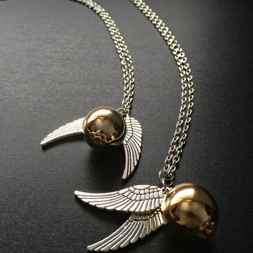 Golden Snitch Necklace - Harry Potter Fandom jewelry Geeky Harry Potter gift Angel wing charm Golden snitch pendant