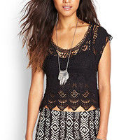 FOREVER 21 Embroidered Crochet Top Black One