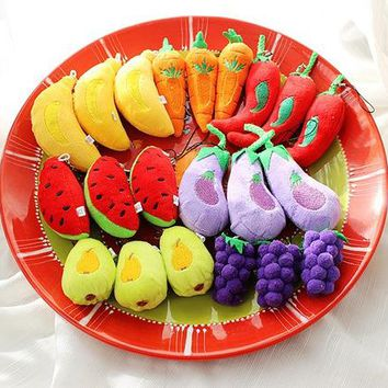 8Vegetables, Fruits , Watermelon , Strawberry Etc. 4-6CM Stuffed Plush TOY DOLL , Mini Gift Plush String TOY DOLL