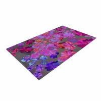 """Marianna Tankelevich """"Purple Flowers"""" Pink Blue Woven Area Rug"""