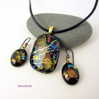 Celebration Dichroic Fused Glass Pendant and Earrings Jewelry Set One-of-a-Kind