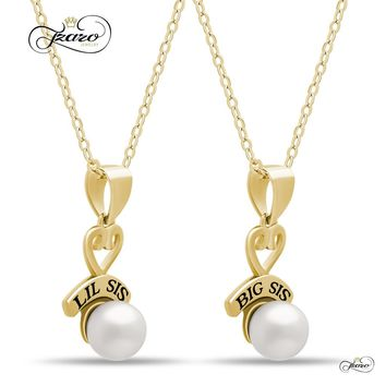 Sister Heart Necklace Set for Big Sis Lil Sis, 925 Silver, 14K Gold Plated Necklaces for Sisters