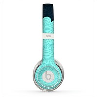 The Aqua Green Abstract Swirls with Dark Skin for the Beats by Dre Solo 2 Headphones