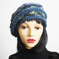 Blue & green knit hat , Ready to ship , Fashion knit hat,  Blue cloche hat , Crochet beret , Woman winter hat , OOAK hat , Woman knit hat