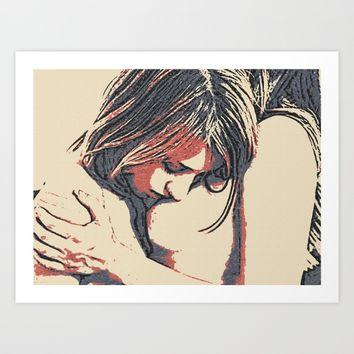 Girls love to play naughty - sexy conte 3 Art Print by Peter Reiss