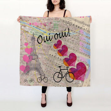 Oui Oui Paris Silk scarf with Paris map, Eiffel tower, travel theme
