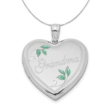 Sterling Silver and Enamel 24mm Grandma Heart Locket Necklace