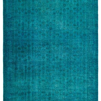 TURQUOISE OVERDYED VINTAGE RUG 6'12'' X 10'2'' FT 213 X 311 CM