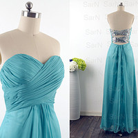 Teal Long Prom Dresses, Custom Teal Strapless Sequin and Chiffon  Long Formal Gown, Sweetheart Strapless Long Prom Gown