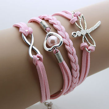Dragonfly, Heart and Infinity Pendant Bracelet