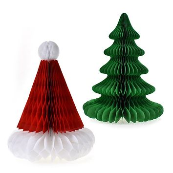 Santa Hat and Christmas Tree Honeycomb Table Decor, 9-1/2-Inch, 2-Piece