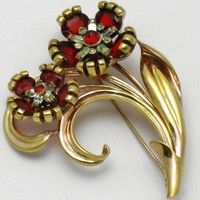PENNINO Sterling Vermeil Ruby Diamond Rhinestone Flower Brooch Pin