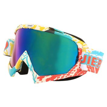 Jiepolly Skiing Eyewear Snowboard Ski Glasses UV400 Anti-Glare Sunglasses Motorcycle Dirt Pit Bike Helmet Goggles Colorful Lens