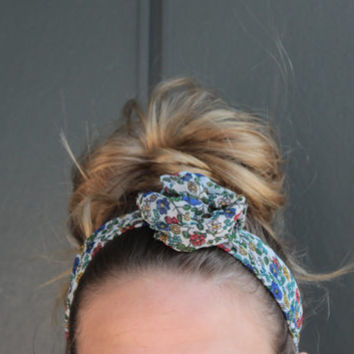 Bohemian Floral Twist Head Scarf Dolly Bow Wire Headband Bun Wrap