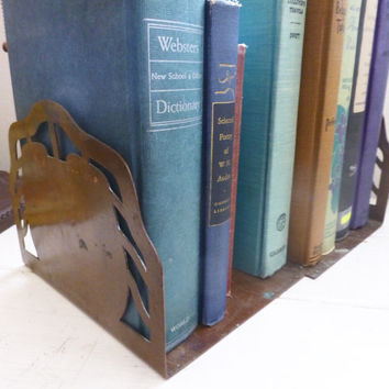 Copper bookends, vintage home decor, metal bookends, wedding present, housewarming gift, gift ideas, home decor ideas, vintage home