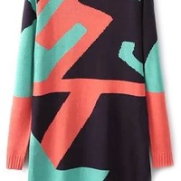 Abstract Geo Sweater Dress - OASAP.com